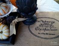 French Country Fall Stenciled Burlap Table Runner