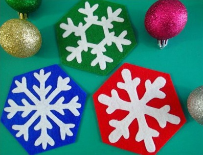 Easy to sew snowflake coasters