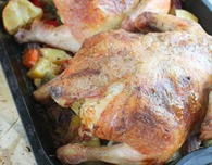 Roasted hen recipe with mushrooms and ham