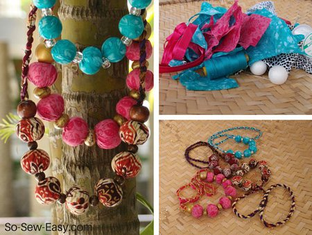 Beaded fabric covered necklace tutorial