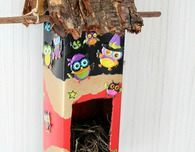 DIY birdhouse out of milk carton