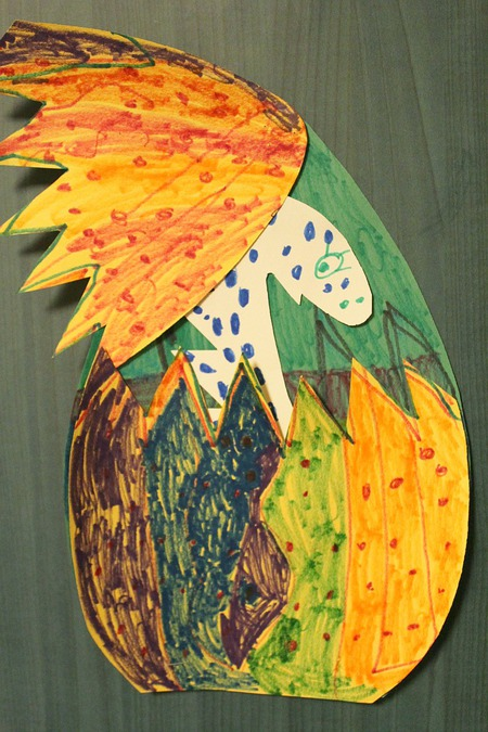 Paper Dinosaur Easter Egg kids craft tutorial