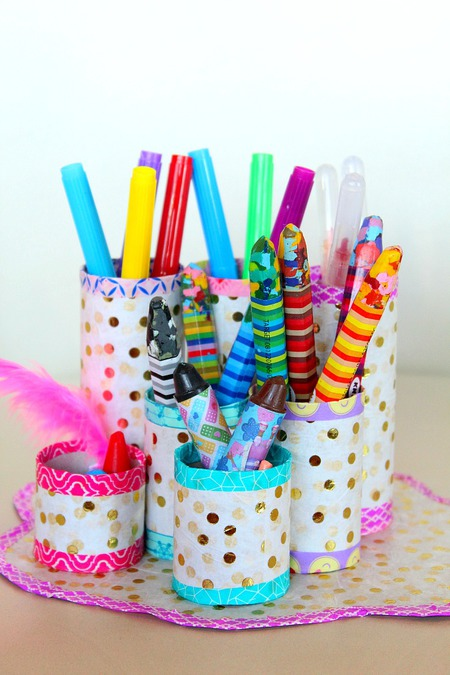 DIY Pencil Organizer with toilet paper tubes