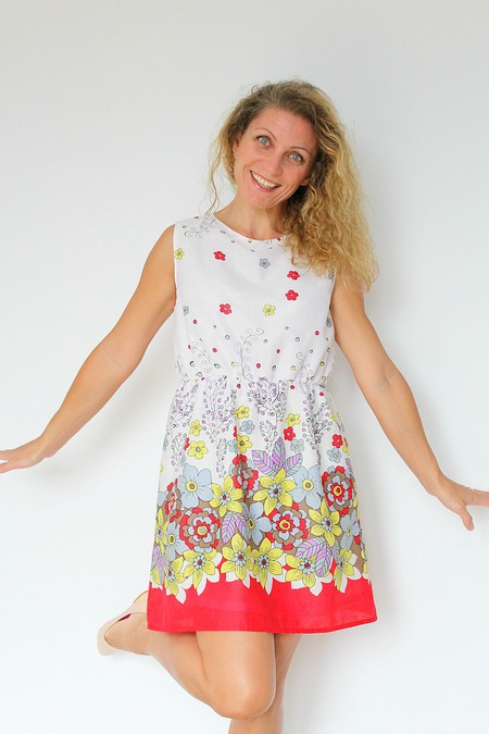 Gathered waist summer dress sewing pattern