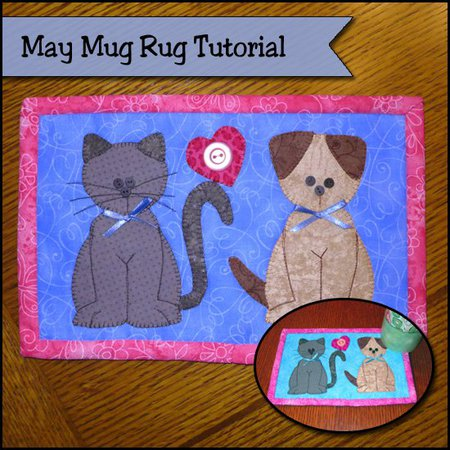 Puppies and kittens mug rug tutorial