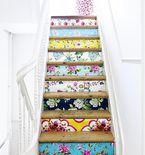 DIY Wallpaper on Stair Risers