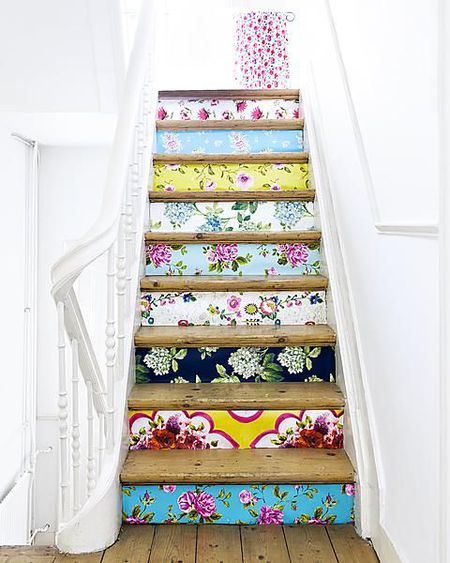 DIY Wallpaper on Stair Risers