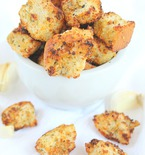 Homemade garlic herb croutons with parmesan