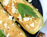Zucchini boats with goat cheese & garlic