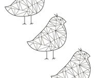 Geometric Sparrows Adult Coloring Book Page