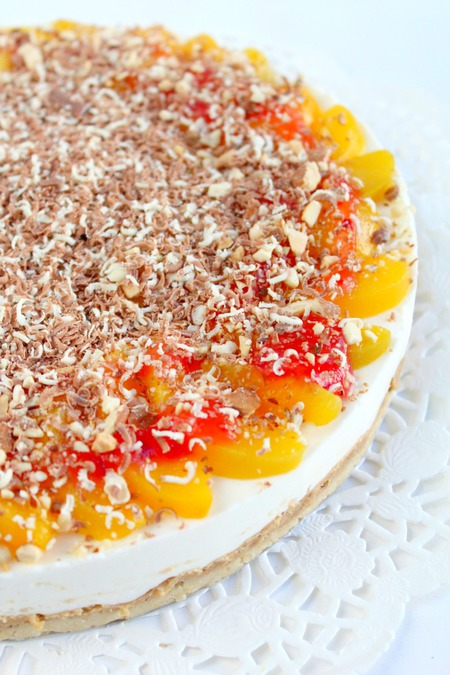 No bake Peach raspberry cheesecake