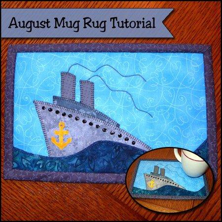 Ship in the sea mug rug