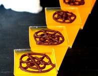 Chocolate spider web jellies Halloween dessert