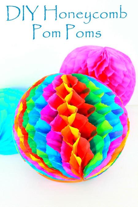 DIY honeycomb pom poms