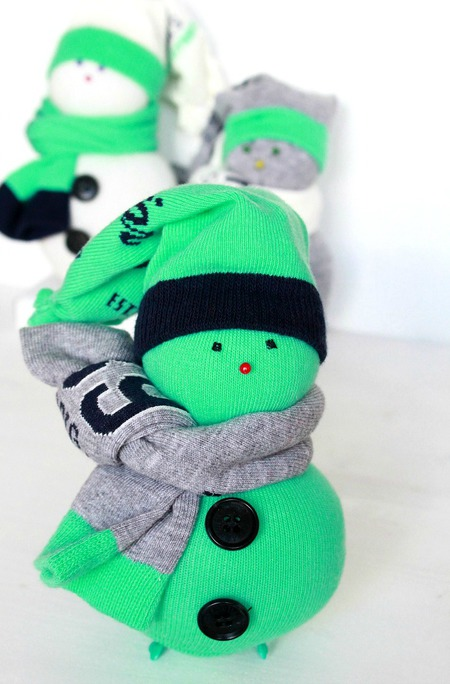 DIY sock snowman Christmas ornament