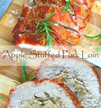 Apple stuffed pork loin roast