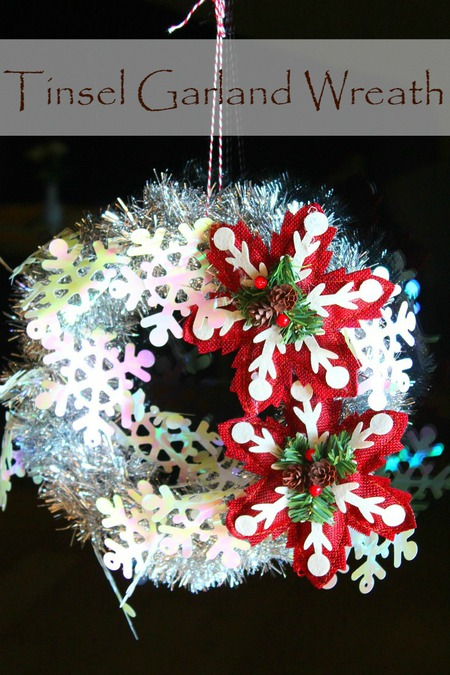 Tinsel garland wreath