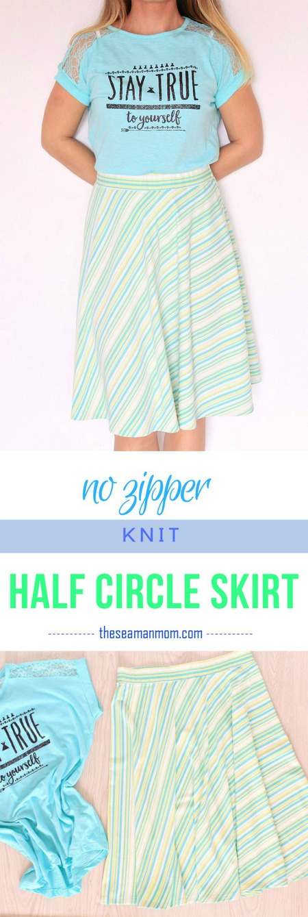 Easy half circle skirt no zipper