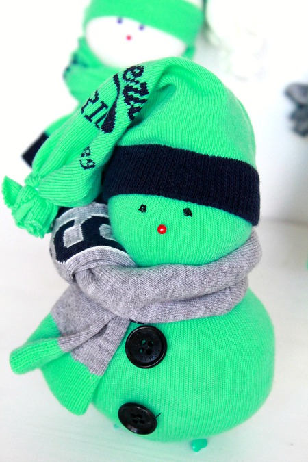 DIY sock snowman ornaments