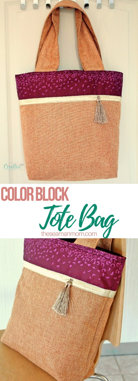 Color block tote bag