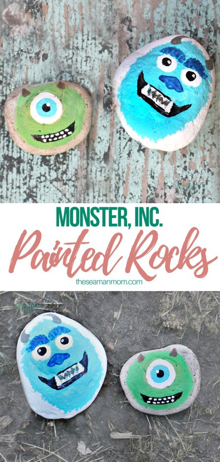 Monster Inc painted rocks