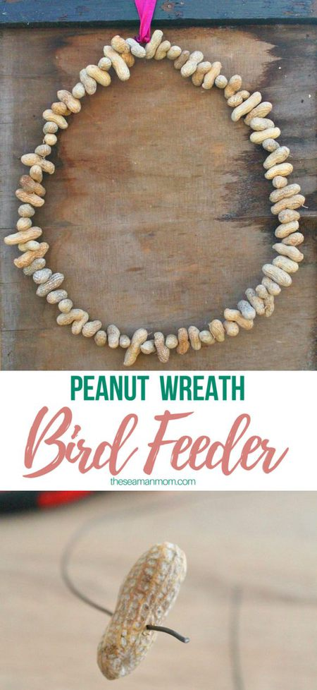 Peanut bird feeder wreath