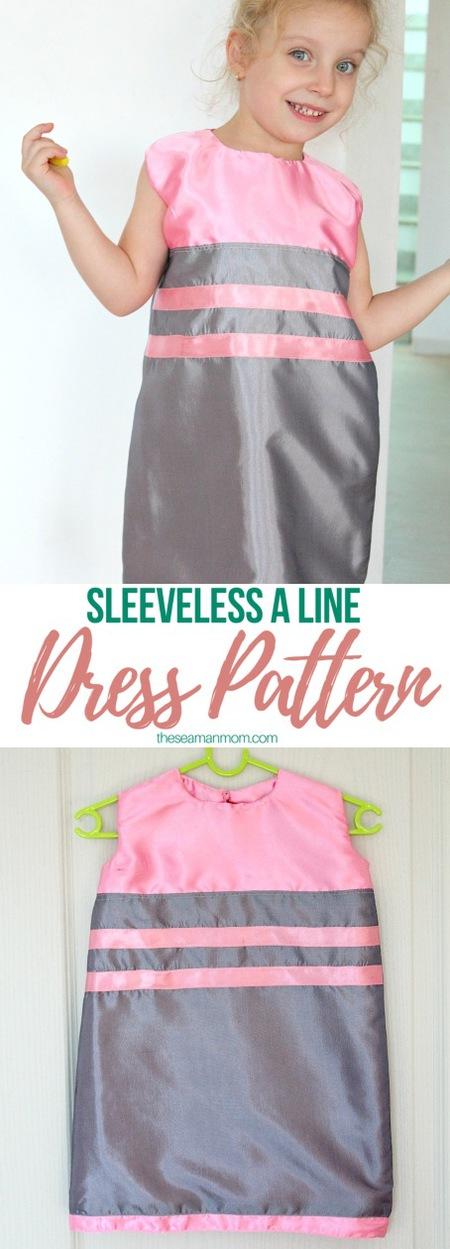 A line sleeveless dress pattern for girls