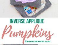 Reversed applique pumpkin coasters