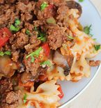 Beef Pasta with Ground Beef and Farfalle