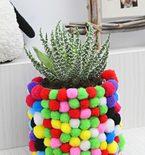 DIY Flower Pot with Pom Poms