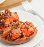 SAVORY TWICE BAKED SWEET POTATOES RECIPE