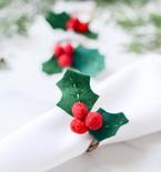 Felt Holly Christmas Napkin RIngs