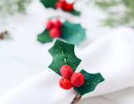 Felt Holly Christmas Napkin RIngs
