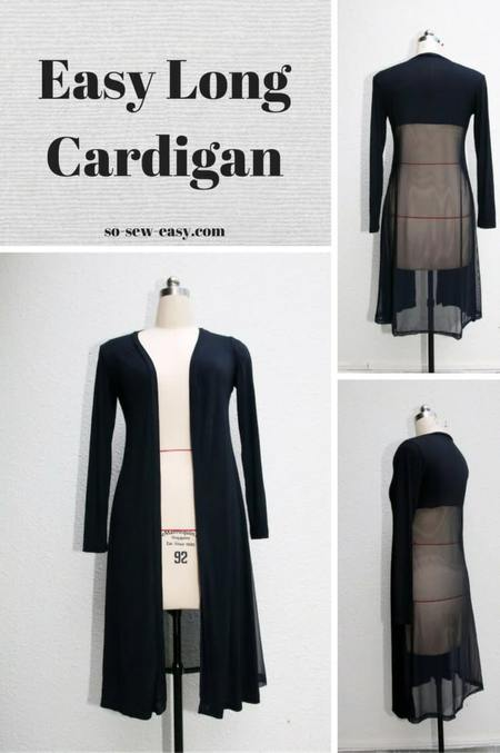 Easy Long Cardigan Free Sewing Tutorial