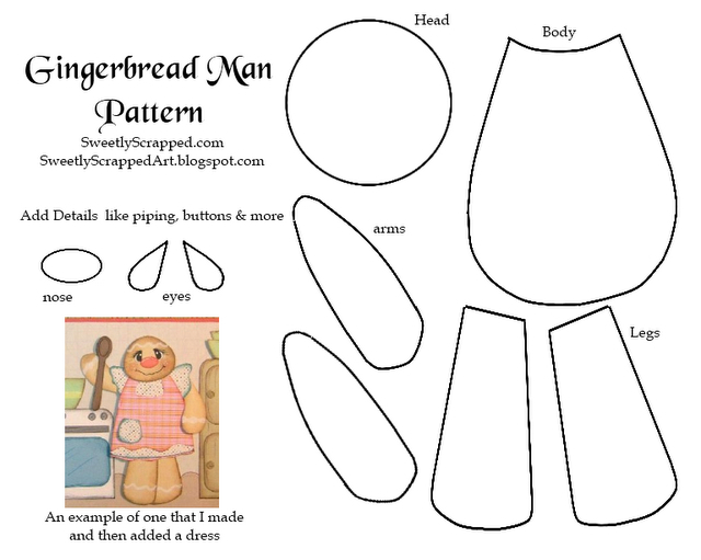 Paper Gingerbread Man Piecing Template  Craftfoxes