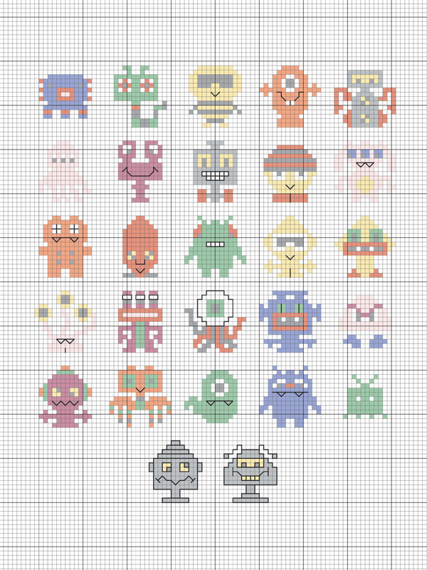 Little Monsters Cross Stitch Pattern Craftfoxes