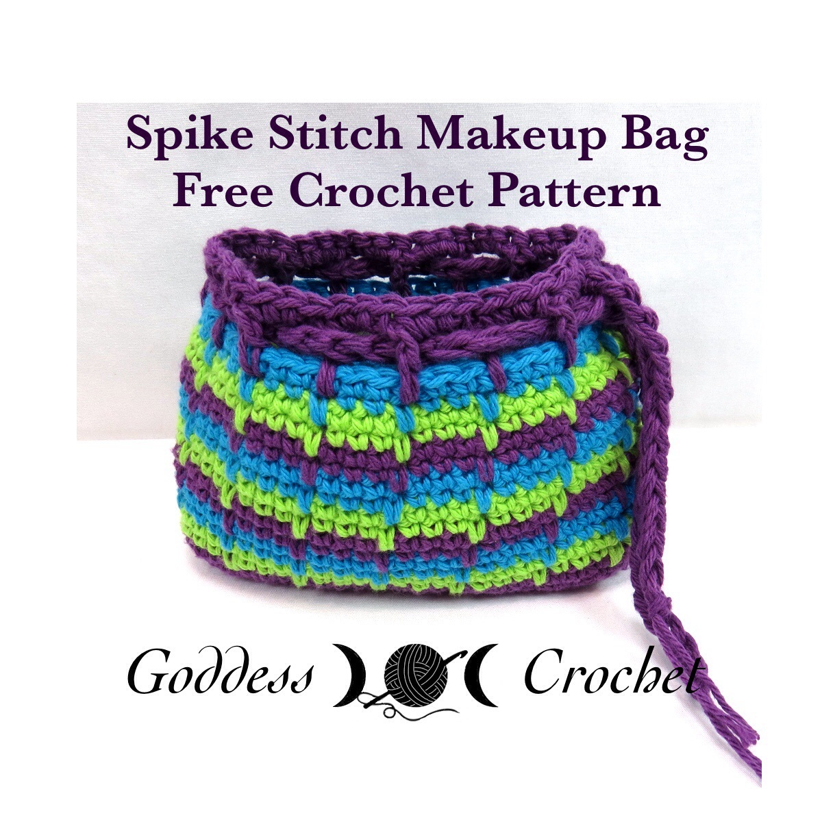 Crochet Cosmetic Bag Pattern : Spike Stitch Makeup Bag - Craftfoxes