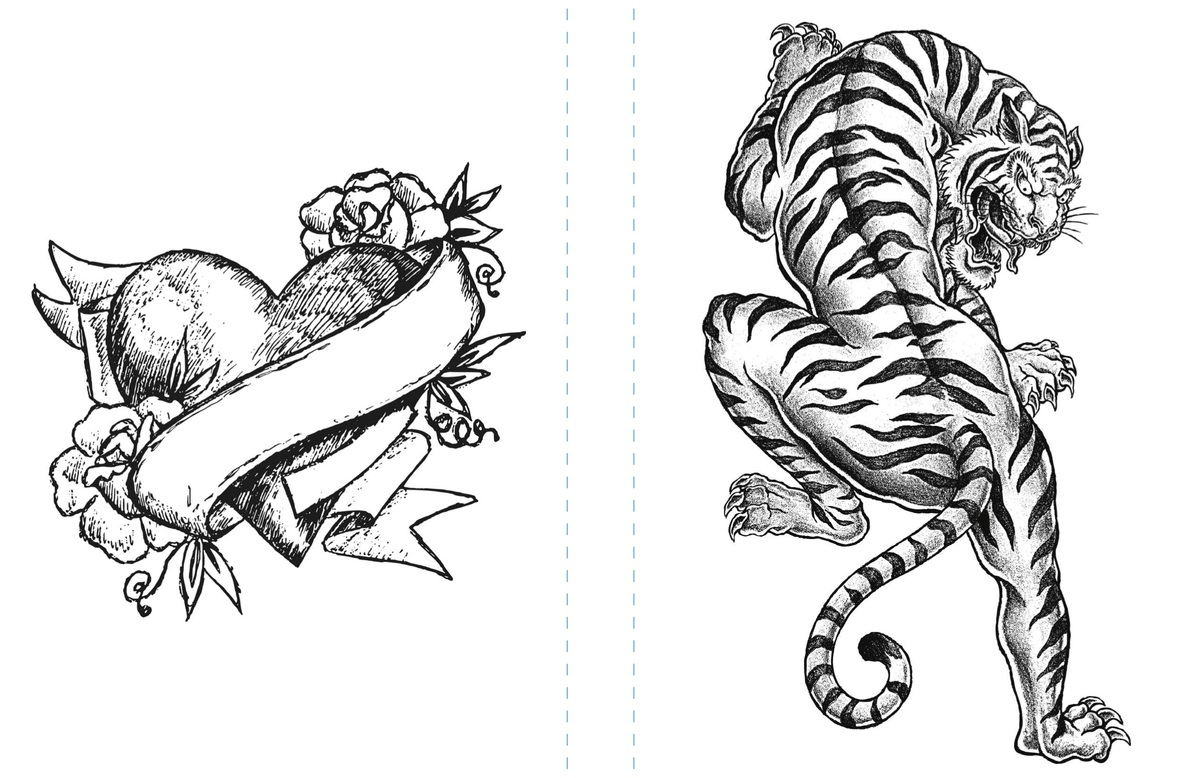 The coloring book tattoo - To Print The Tiger Page And The Heart Tattoo Image As One Spread Zoom On The Image Right Click Download And Print