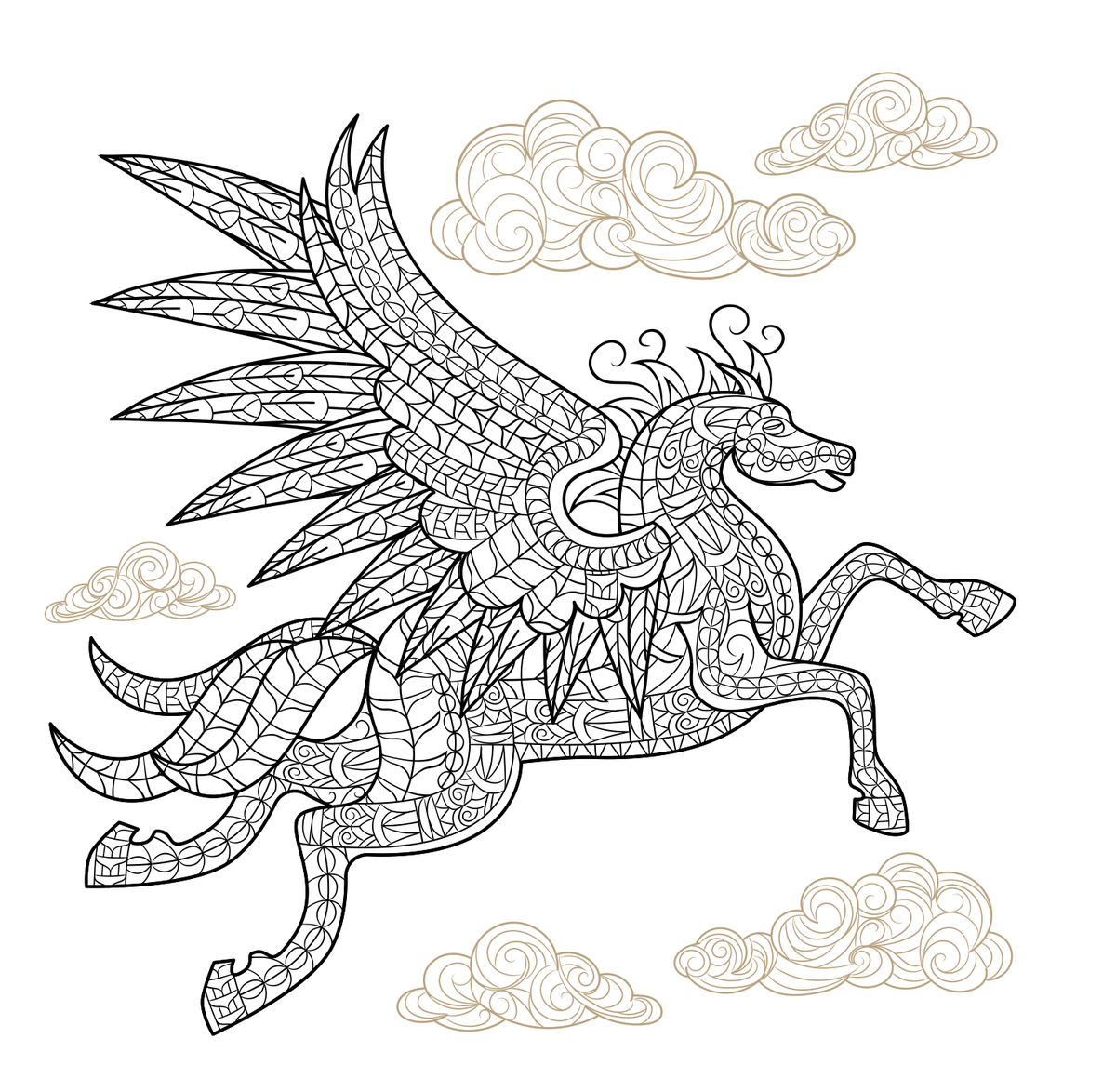 to print the pegasus coloring page zoom in on the image to the left and then right click to download and save then open up the page and print