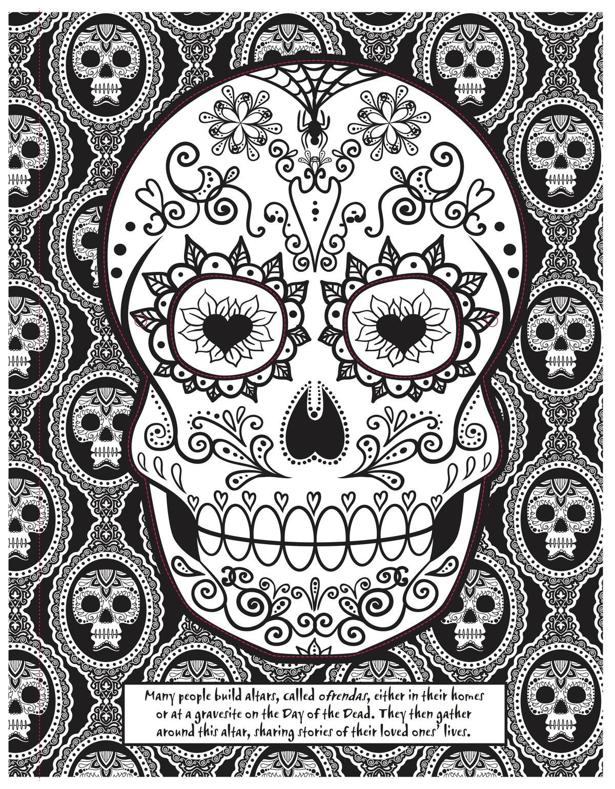 - Day Of The Dead Skull Coloring Page - Craftfoxes