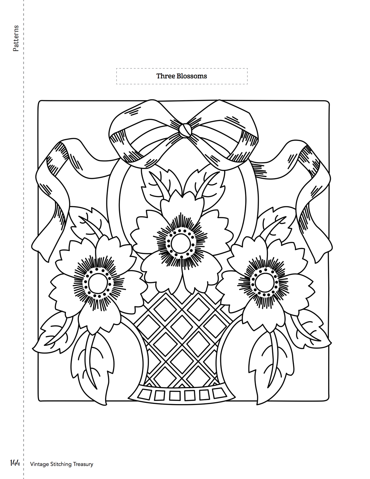 Art deco embroidery pillow patterns with birds flowers and fruit to print the three blossoms flower pattern zoom in on the image to the left right click save and print bankloansurffo Images