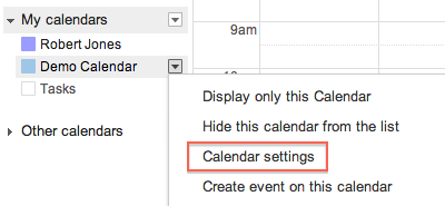 Create New Calendar form