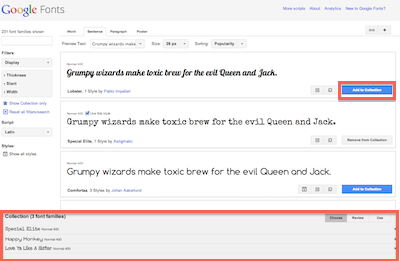Screenshot of Google Fonts Web Site