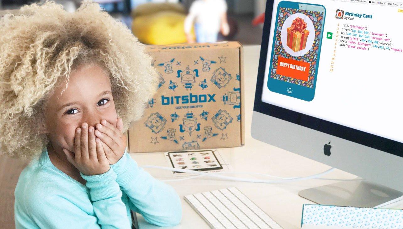 Kid surprised play Bitsbox