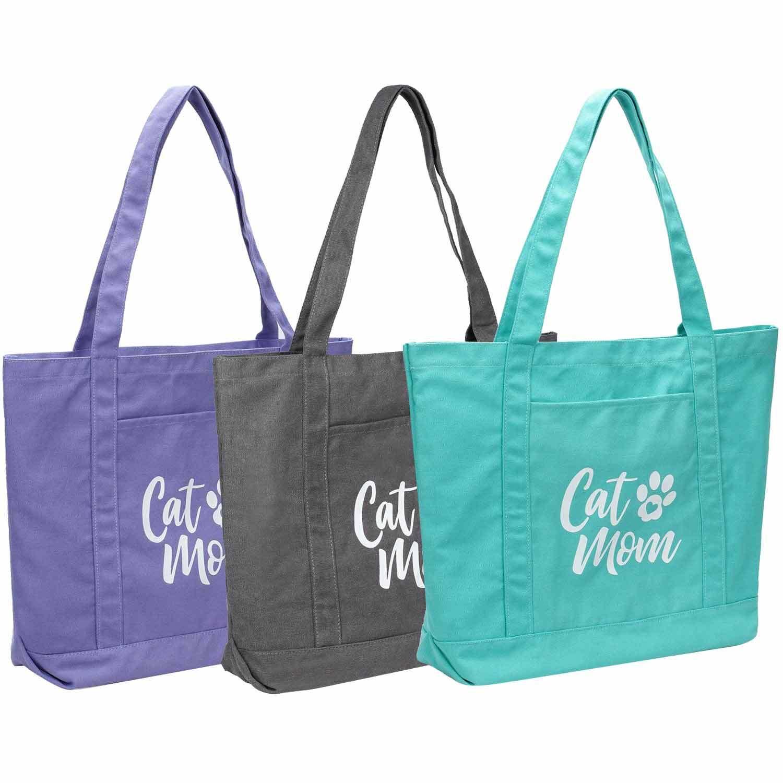 Cat Mom Organic Cotton Tote Bag Cat Lover Gift Cat Mom Cotton Tote Bag Cat Owner Tote Bag Cute Cat Mom Bag Funny Cat Mom Shopping Bag