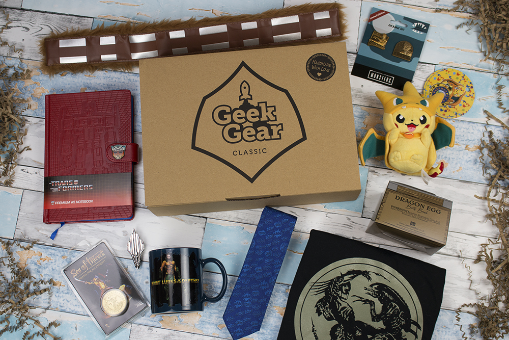 Geek Gear unboxed with geeky things shown
