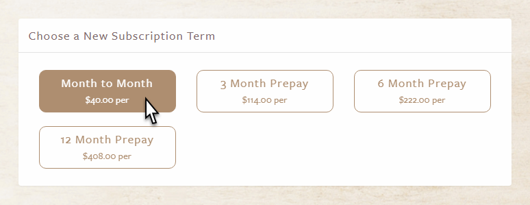 Select New Subscription Term