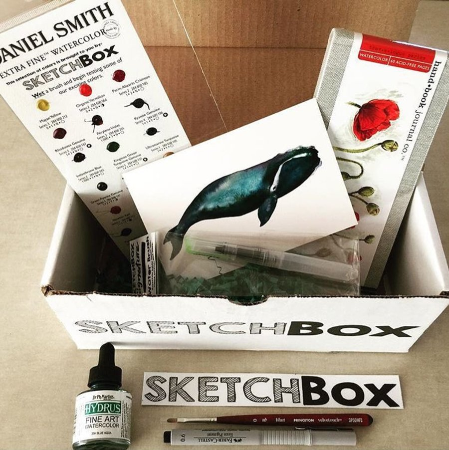 October Sketch Box filled with art supplies