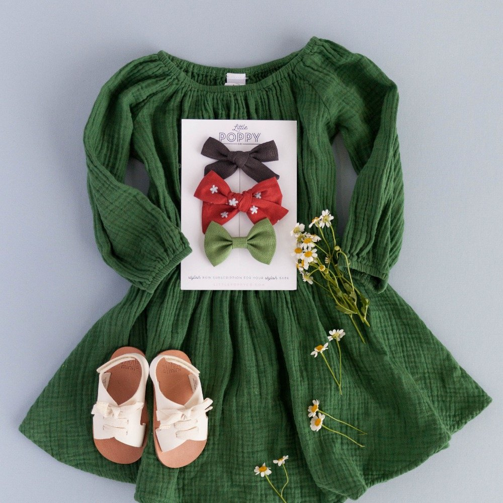Little Poppy Co Holiday Bows Red and Green Cream