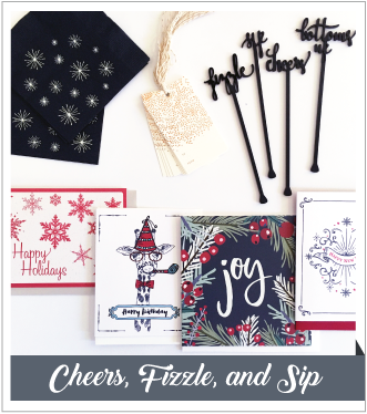 V. Paperie December subscription box. The theme was 'Holiday Entertaining' and included 4 greeting cards (Happy Holidays, Happy New Years, Joy, Happy Birthday), Cocktail drink stirrers, gift tags, and cocktail napkins.